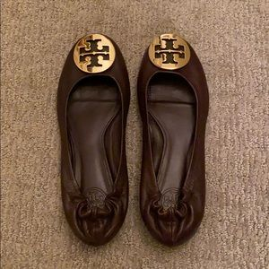 Brown and gold Tory Burch flats